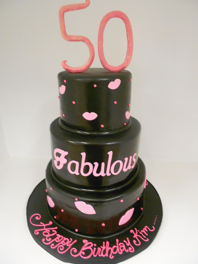 50 And Fabulous Birthday Cake 999 Black And Pink Cake Wi Flickr