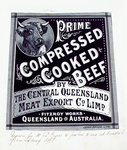 Prime Compressed Cooked Beef label | by State Library of Queensland, Australia