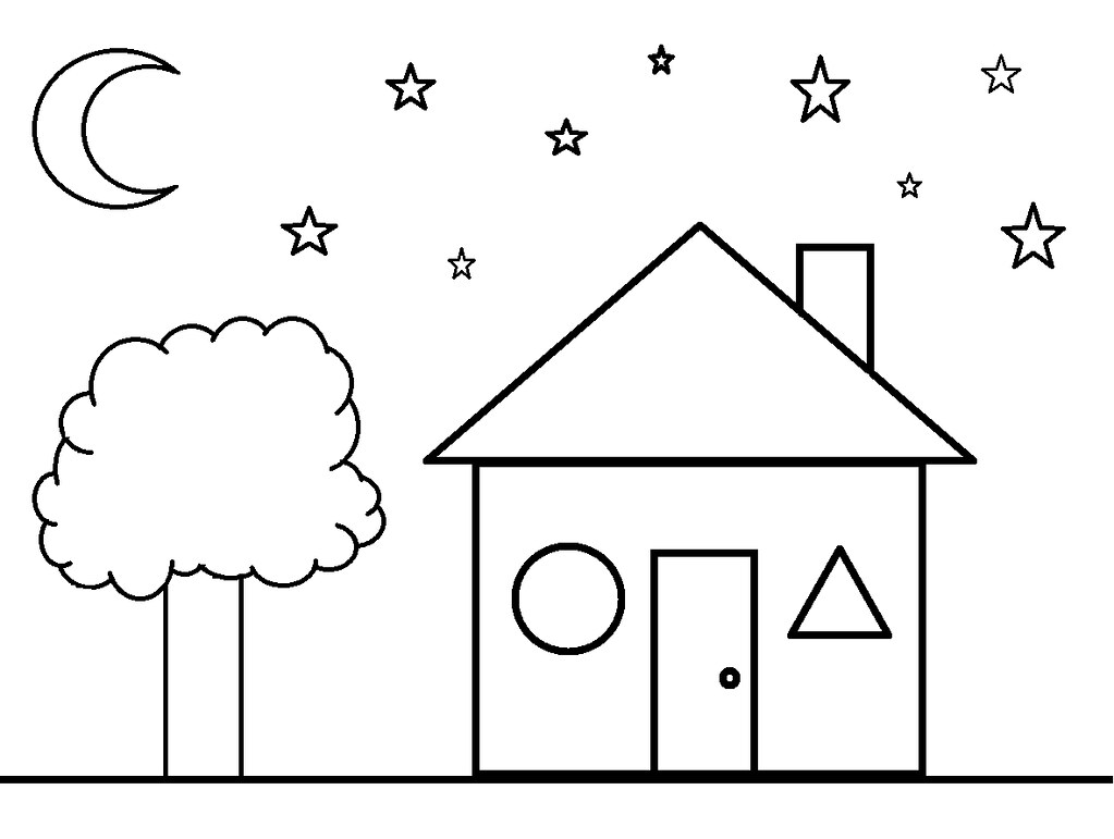 Childrens coloring house -  Shapes Coloring Sheet House By Clermont County Public Library