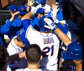 Lucas Duda is congratulated for his home run | by Michael G. Baron
