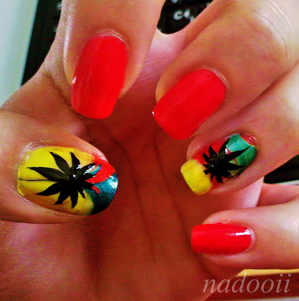 Jamaican Weed Nail art | sorry for the bad quality picture :… | Flickr