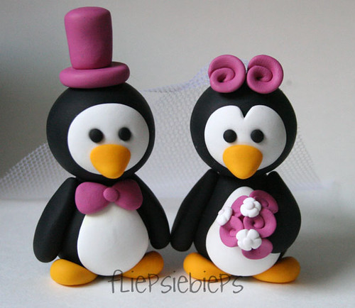 penguin cake toppers wedding penguin wedding cake topper esther flickr 6441