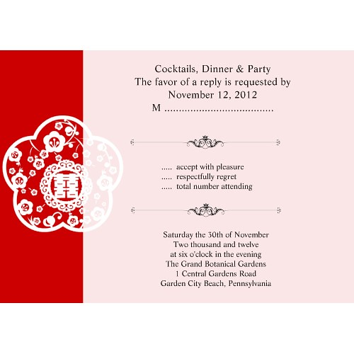 Traditional Oriental And Chinese Red Double Happiness RSVP