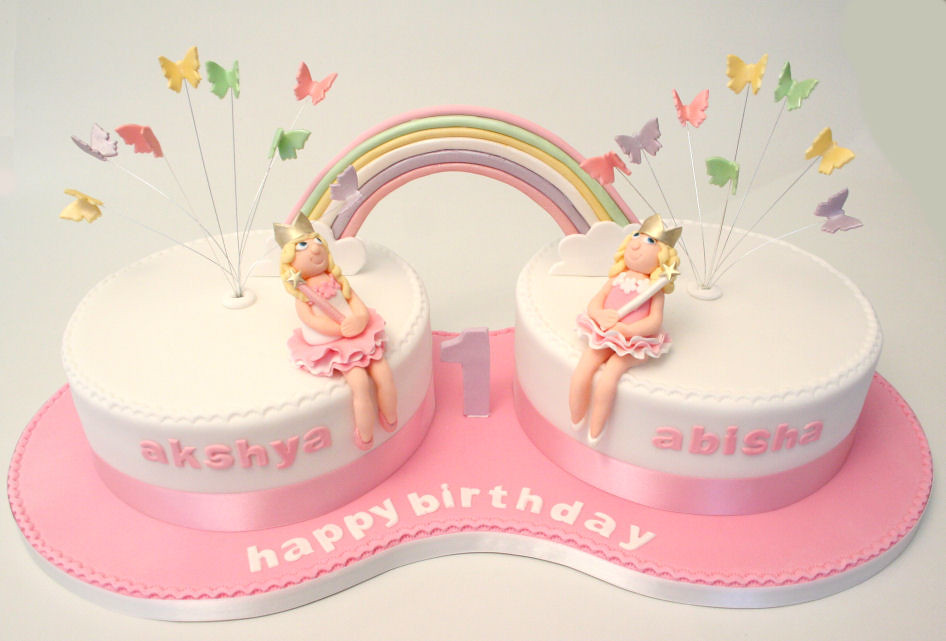 Twins 1st Birthday Cake Cake For 2 Little Girls With All S Flickr