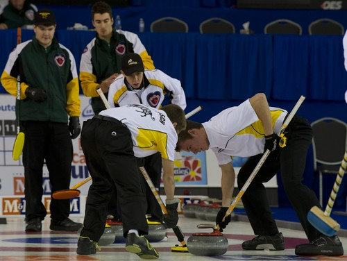 Napanee, ON Feb 12 2011 M&M Canadian Juniors Team MB Skip Josh Barry, Thrid Chris MacRae & Lead Andrew O'Dell. Michael Burns Photo Ltd. | by seasonofchampions