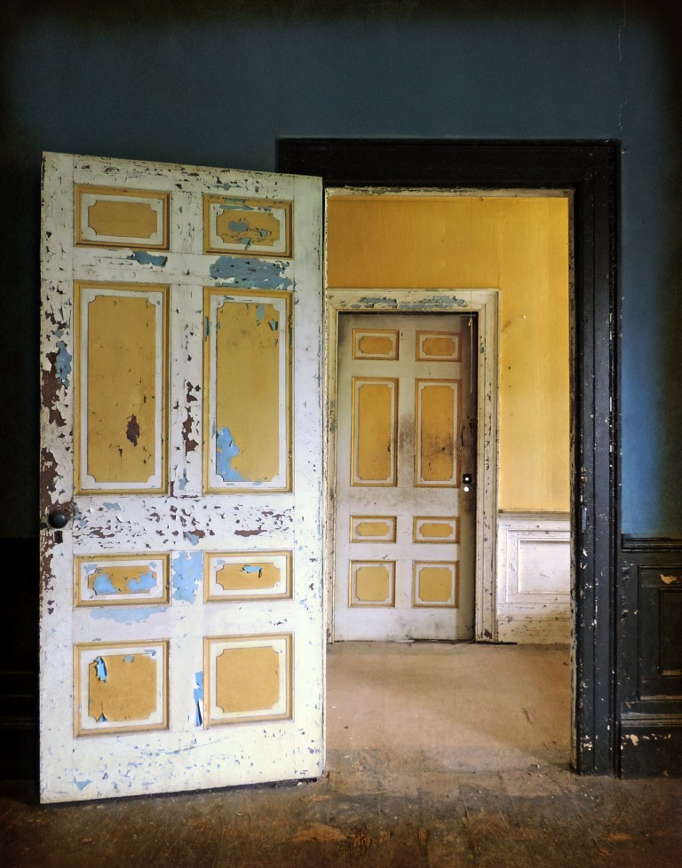 ... Two Doors In An Abandoned Southern Plantation House: The Former Glory  That Was Northeastern North