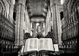 Peterborough Cathedral Bible   ~~~  Please view on black.  (explore) | by B&WPhotog