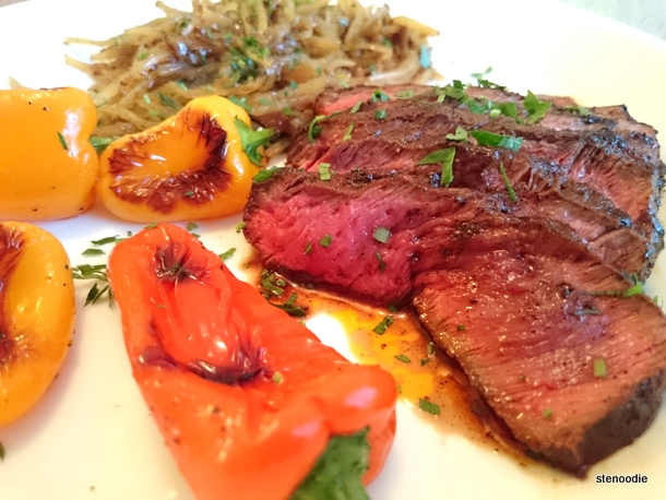Espresso Rubbed Steak with Crispy Shredded Potatoes and Baby Bell Peppers