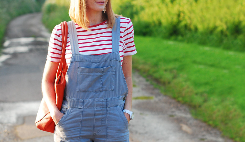 Casual spring summer look: Red Breton stripe t-shirt, grey dungarees, orange tote   Not Dressed As Lamb