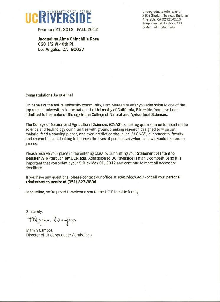 Uc Riverside Acceptance Letter Jpg Jackiee1293 Flickr