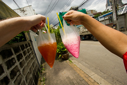 Cold drinks in plastic bags :)