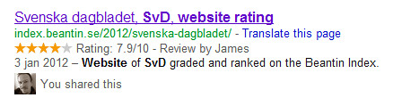 hReview rich snippet in Google SERPs
