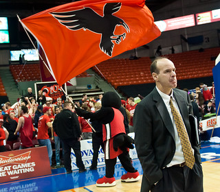 Ravens head coach Dave Smart awaits the start of the quarter-final game against the Acadia Axemen March 9. (Photo by: Pedro Vasconcellos) | by charlatanonline