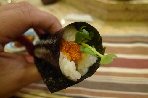 Tobiko and yamaimo temaki flying fish egg and japanese for Flying fish egg