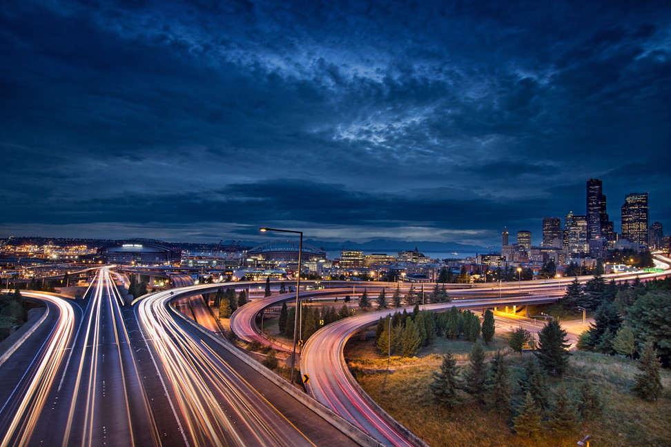 ... Seattle City Lights And Light Trails At Blue Hour   HDR | By David Gn  Photography