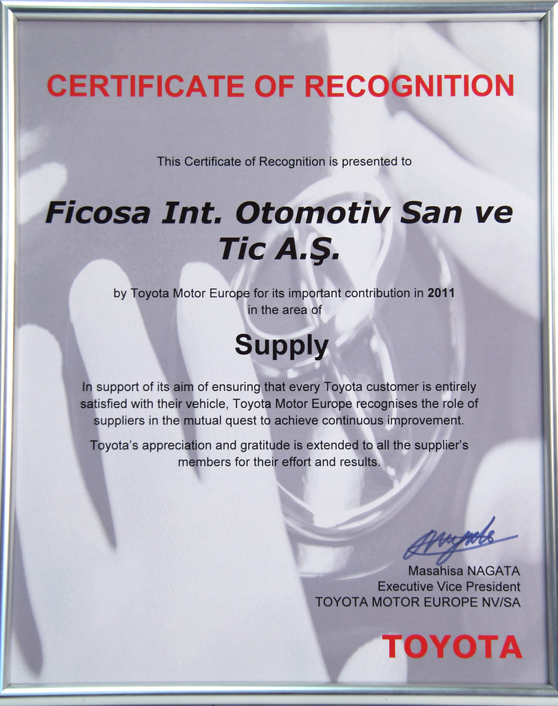 Toyota Certificate of Recognition to Ficosa Int  Otomotiv