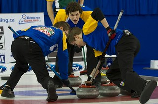 Napanee, ON Feb 12 2011 M&M Canadian Juniors Team Alberta Third Evan Asmussen Second Landon Bucholz, Lead Bryce Bucholz. Michael Burns Photo Ltd. | by seasonofchampions
