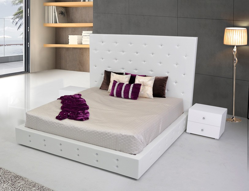 ... Modern Leather Platform Bed Furniture In White Color   VGKCELBRUS WHT |  By Modern Miami