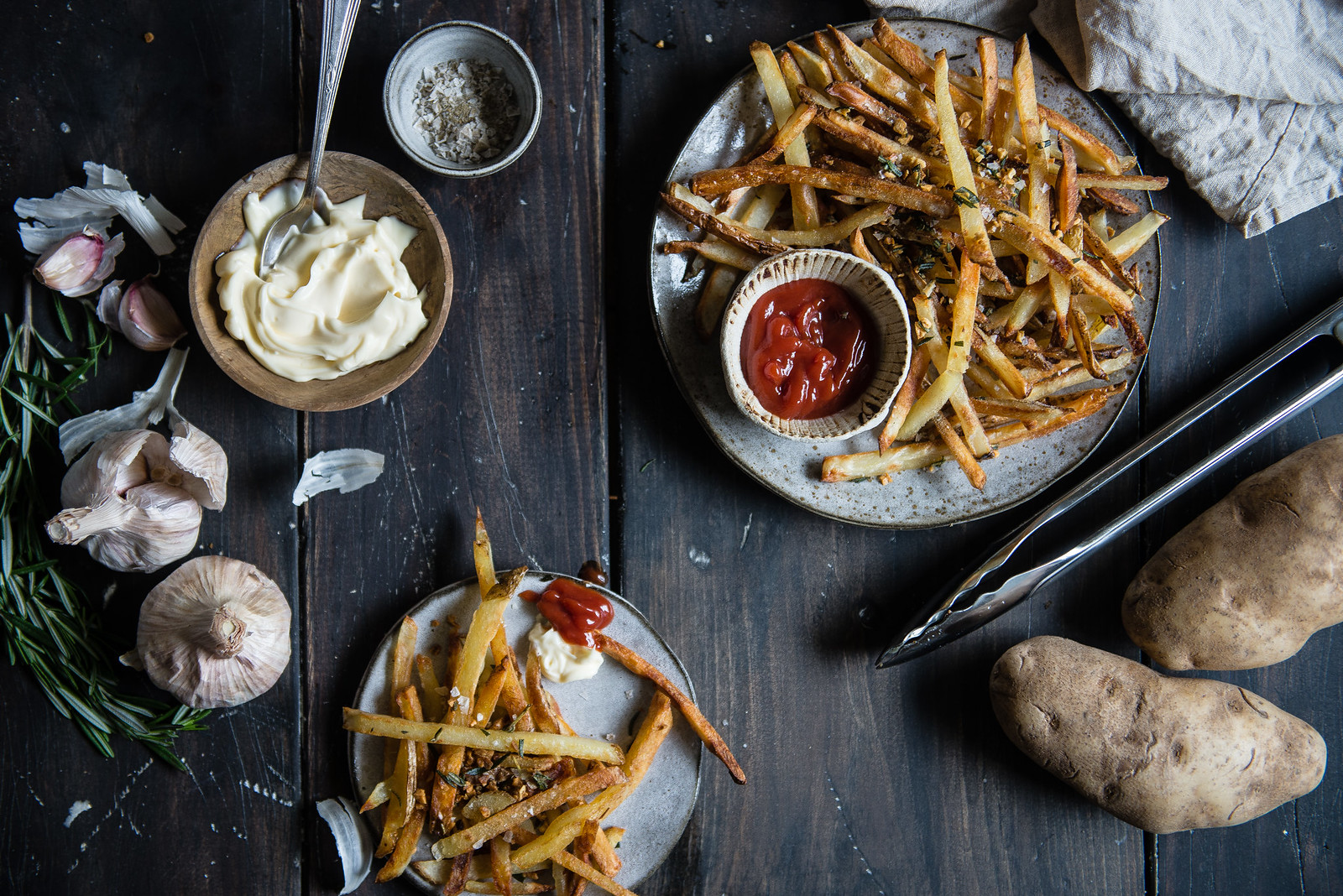 crispiest oven fries, with rosemary & garlic | two red bowls