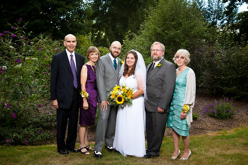 Kelli (Copeland) Wilson (bride), Brian Copeland (to the right of bride) & his wife, Roxanne (Joy) Copeland (far right), with Damian Wilson (groom), his father Richard Wilson (far left) & his wife, Sharon (Fringley) Wilson. | by kelliannwilson