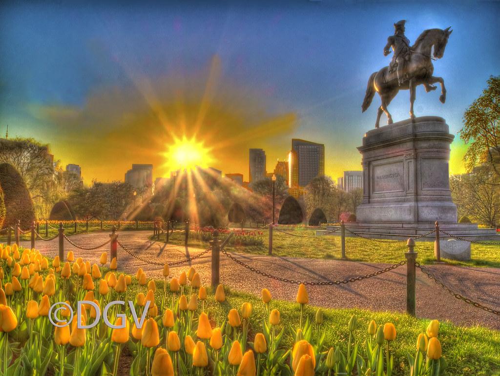 Boston Public Garden @ Sunrise | Washington Statue and Tulip… | Flickr
