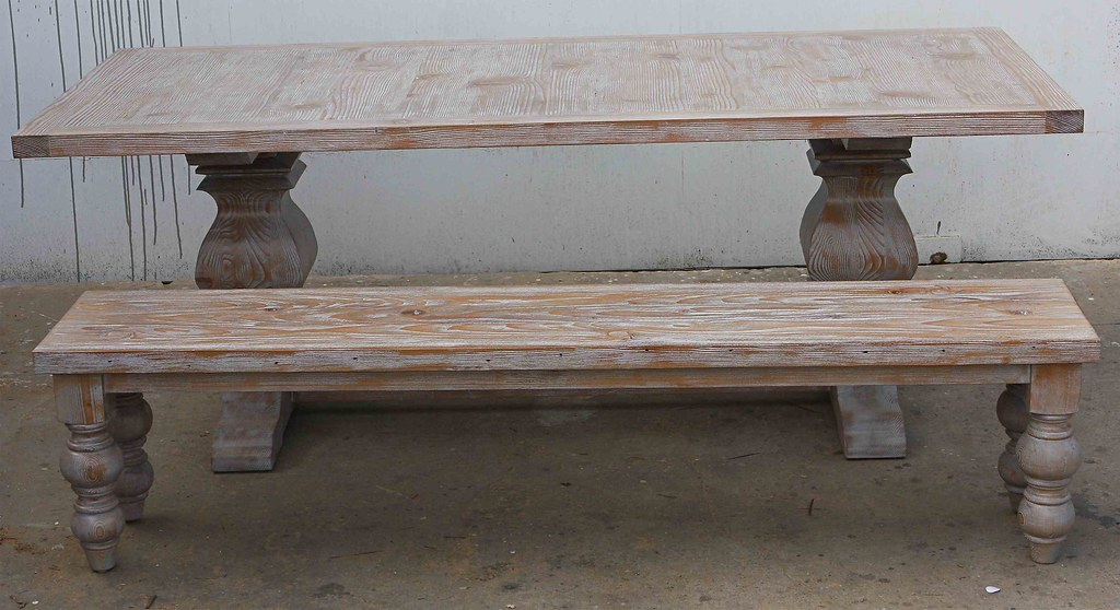 ... Rustic Reclaimed Wood Dining Table Turned Leg Bench |