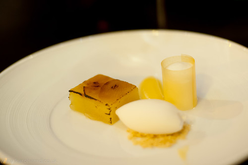 Baked apple terrine, Granny Smith sorbet, Aspall's cider foam | by karohemd