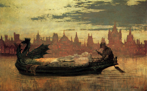 "John Atkinson Grimshaw (1836-1893), ""The Lady of Shalott"" 