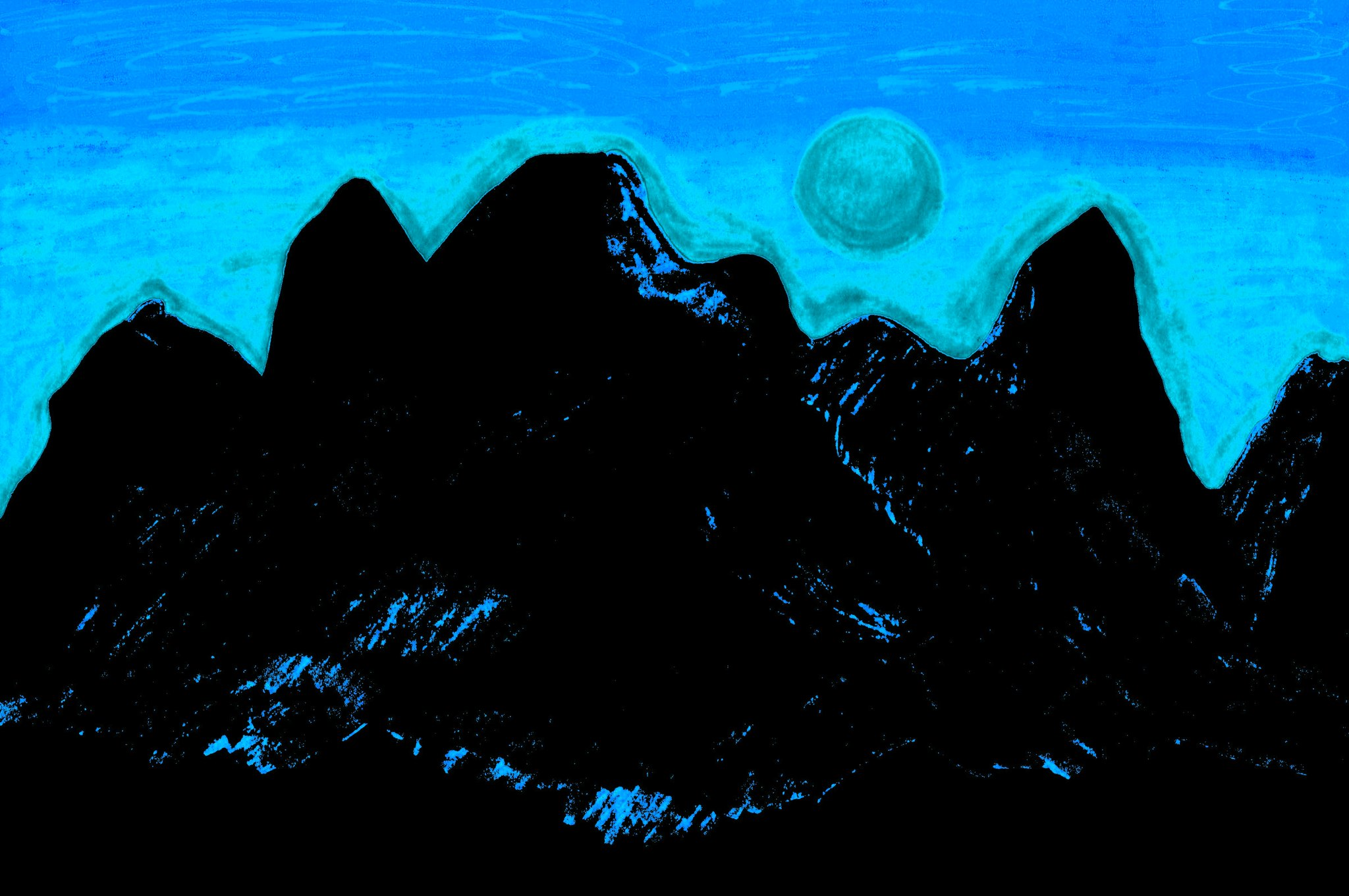 Moon Glow Over The Cascades 3 By Sherrie D. Larch