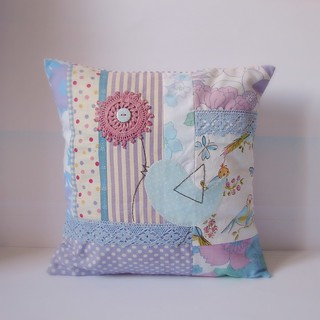 Cushion bird patchwork purple and blue1 | by Roxy Creations