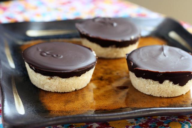 Dark Chocolate Coconut Treats - Vegan, Gluten-free + Refined Sugar-Free