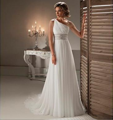 Simple One Shoulder White Chiffon Bridal Wedding Dresses | Flickr