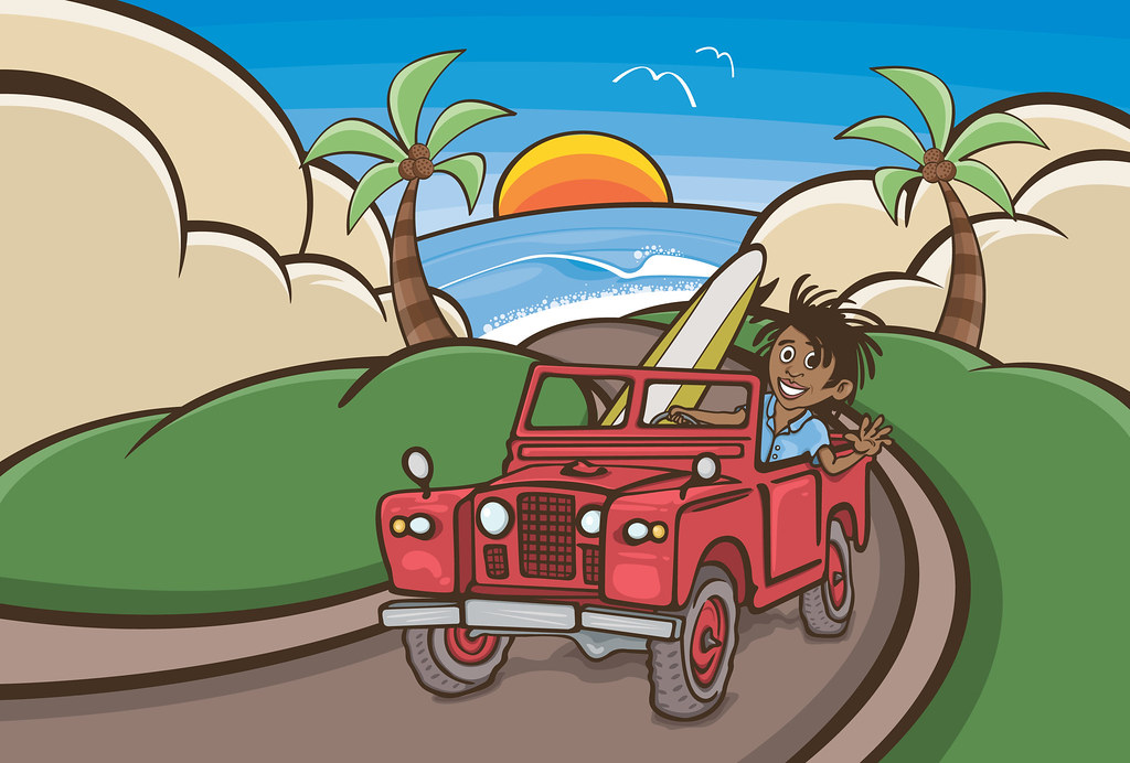 Dougillustration Surfer In Red Land Rover Tropical Beach