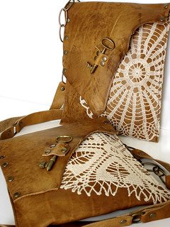 Leather Boho Messengers w/Vintage doilies & Antique Keys | by UrbanHeirlooms