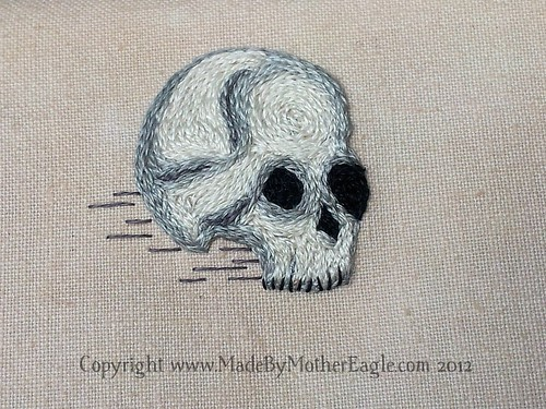 Miniature skull embroidery in split stitch | by MotherEagle
