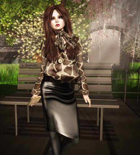 CHANTKARE GEEFRY SWEATER &  GizzA - Pencil Skirt (Mesh) Leather Black (Close) | by Lila Quander