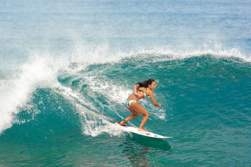 Surfing on the North Shore - near Sunset Beach