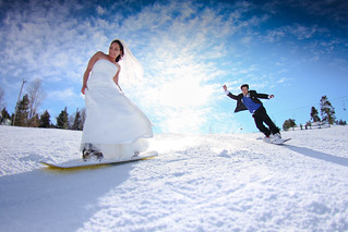 Snowboarding Bride and Groom | by Big Bear Mountain Resorts