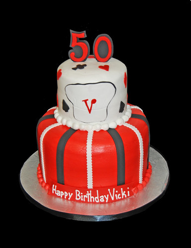50th birthday 2 tier cake - casino themed with a chef hat | by Sweet Shoppe Mom and Simply Sweets