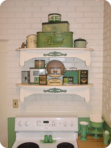 Retro / vintage green kitchen shelves | by eg2006