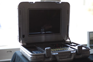 Aluminum Briefcase with Computer and Accessories | by Dolby Laboratories
