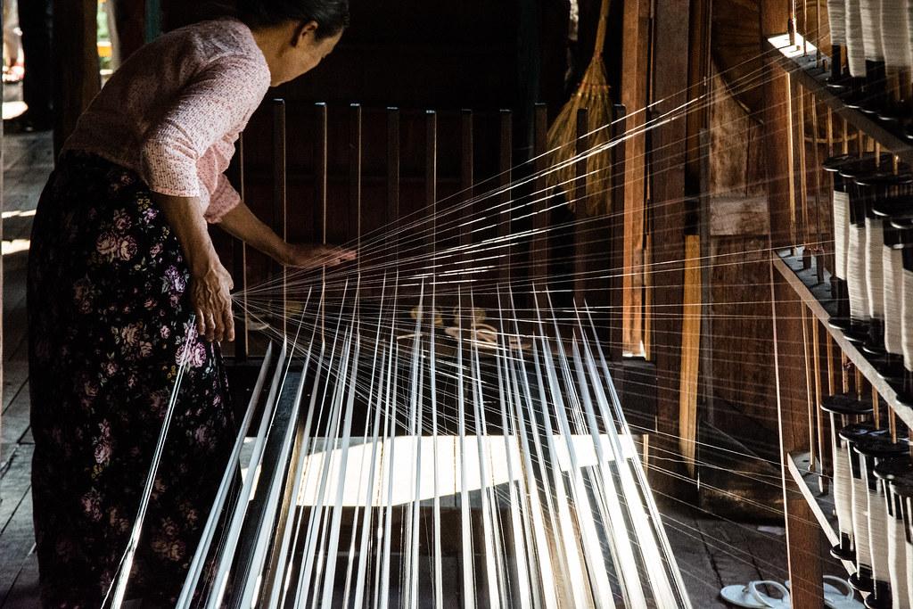 Weaving silk. Myanmar