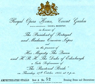 A ticket to the gala performance of The Bartered Bride, 1955 © ROH 1955 | by Royal Opera House Covent Garden