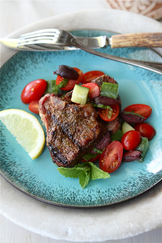 Greek Grilled Lamb Chops Recipe with Tomato, Cucumber & Ka ...