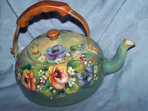 Recycled Vintage Tea-pot with Pansies | by Orna's Art