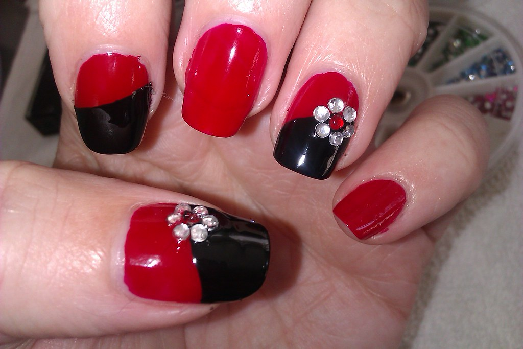 ... Simple DIY Nail Art Designs: Easy Red and Black Nail Design with  Rhinestone Flowers | - Simple DIY Nail Art Designs: Easy Red And Black Nail Desig… Flickr
