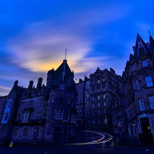 The blue hour of Edinburgh, Scotland.