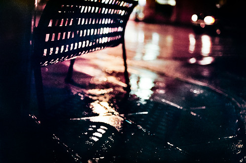 street bench rain night | Nikon FE | Nikkor 50mm 1.4 AiS | Fuji Superia 800 35mm film | by *AndrewYoungPhoto* (writing_with_glass)