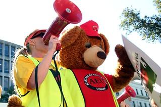 The bear says no to the cuts - TAFE teachers and students rally outside Premier Baillieu's office | by John Englart (Takver)