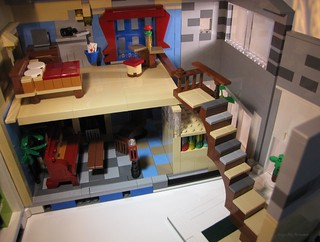 Blue Hues House - Stairs swing when opening back Sunroom module | by LegoMyMamma